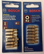 "Bosch TDR2106 R2 1"" Square Drive Titanium Screw Bit Tips 2- 6 Packs USA - $4.95"