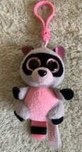Ty Beanie Boo Gray Pink Black Raccoon ROCCO Fleece Stuffed Animal Toy Ke... - $6.43