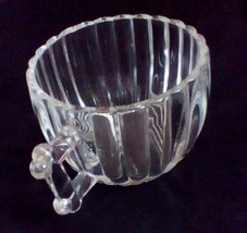 Jeanette Glass Creamer Ribbed Cup Cool Fence Post Style Handle - $9.41