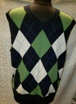 J Crew Argyle Print Sweater Vest Mens M 100% Cashmere Sleeveless Blue - $37.76