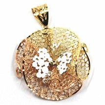 18K YELLOW WHITE ROSE GOLD FLOWER, ONDULATE, FINELY WORKED GRID BIG PENDANT image 1