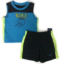 NIKE Boys Blue Shorts Outfit Sleevless Top Basketball Sizes 12 18 24 Months - $36.00