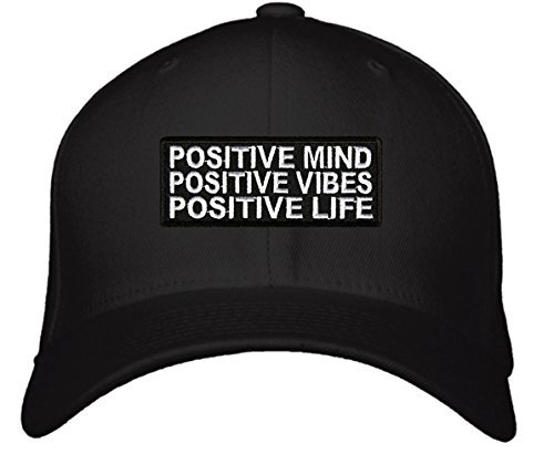 Positive Mind Positive Vibes Positive Life Hat - Adjustable Mens Black