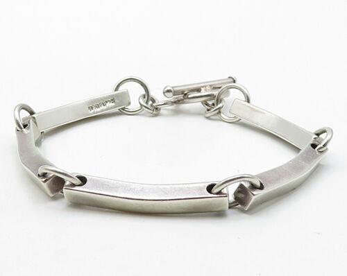 MEXICO 925 Sterling Silver - Vintage Linked Solid Bars Tennis Bracelet - B3435