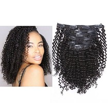 Anrosa Kinky Curly Clip in Human Hair Extensions Natural Hair Clip ins Natural B
