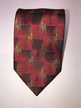"""Van Heusen Christmas Red Rain Deer Silk Tie L59.7/8 W3.7/8"""" SkuA5 - $8.59"""