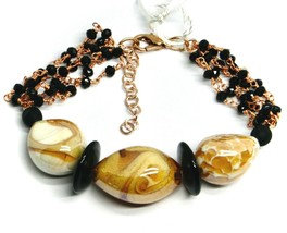 ROSE BRACELET BLACK, ORANGE SPOTTED DROP OVAL MURANO GLASS, MADE IN ITALY image 1