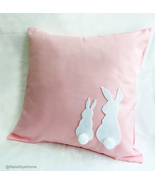 Handmade Two Cute Rabbits Pink Decorative Pillow Cover. Children Room Decor - $25.00