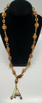 Vintage Wooden Beaded Necklace Wood Cube & Beads Gold Accents Retro Funky Boho - $24.18