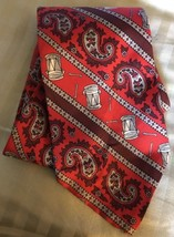 OSCAR DE LA RENTA Vintage Silk Necktie WIDE Red Holiday Paisley DRUMS St... - $28.92