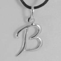 18K WHITE GOLD PENDANT CHARM INITIAL LETTER B, MADE IN ITALY 0.9 INCHES, 22 MM image 1