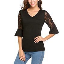 hirigin New Sexy Womens V Neck Lace Floral Sleeve Blouse slolid sexy Ladies Casu - $33.20