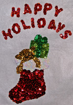 "Sequined Happy Holidays Stocking Wall Hanging Tapestry 14"" x 17"" Hand Cr... - $14.88"