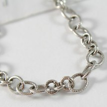 White Gold Bracelet 750 18k with Circles Worked, Rolo ' , Length 19 Cm image 2