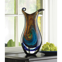 "Art Glass Decorative Vase Swirls of Color Freeform Style 15.5"" High - $88.95"