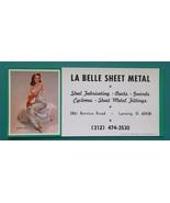 PIN-UP Girl Beautiful Brunette & AD La Belle Sheet Metal - 1960s INK BLO... - $6.35