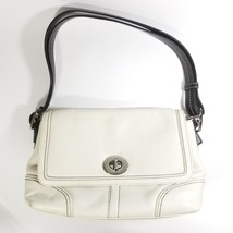 COACH White Leather VINTAGE Flap Turn Lock Shoulder Bag Purse - $29.99