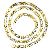 """18K YELLOW WHITE GOLD CHAIN BIG 6 MM ROUNDED FIGARO GOURMETTE ALTERNATE 3+1, 24"""" image 6"""