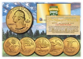 2018 America The Beautiful 24K GOLD PLATED Quarters Parks 5-Coin Set w/ ... - $13.06