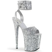"""PLEASER Sexy 8"""" Heel Silver Glitter Platform Ankle Strap Dancer Stripper... - $82.95"""