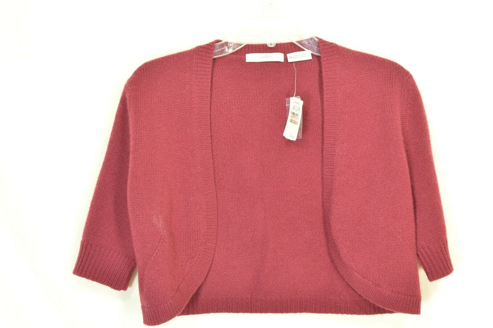 Neiman Marcus sweater M NWT red 100% cashmere shrug bolero cropped $195 new
