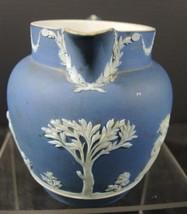 "Antique 1890s Blue Wedgwood Jasperware 4 1/4"" Tall Jug - $26.59"