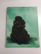 1970s Vtg Poodle Painting Dog Black Brown Folk Outsider Art 1973 Canvas ... - $29.99