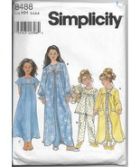 Simplicity 8488 Girls Sizes 3-6 Sleepwear Robe Nightgown Pajamas  Sewing... - $11.00
