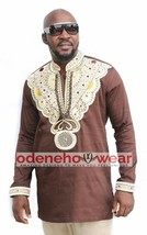 Odeneho Wear Men's Brown Polished Cotton Top/ Embroidery. African Clothing - $84.15+