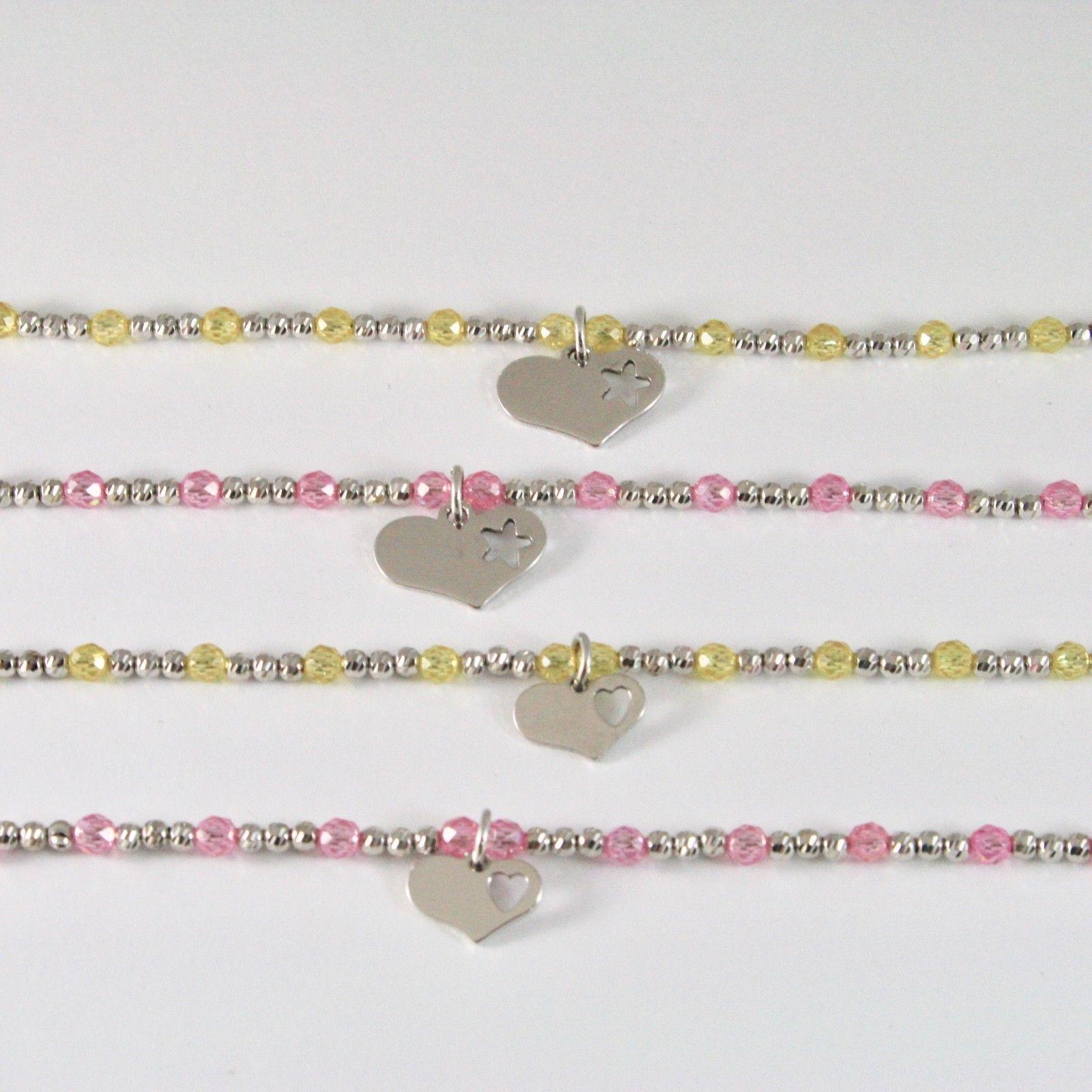 Bracelet en Argent 925 Rhodium avec Zirconia Cubique Billes et Pendentif Cœur