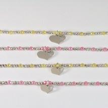 Bracelet en Argent 925 Rhodium avec Zirconia Cubique Billes et Pendentif Cœur image 1