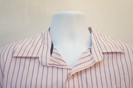 American Eagle Midweight Pinstriped Button-Front Shirt, Pink, Men's 2XL 8746 - $12.42
