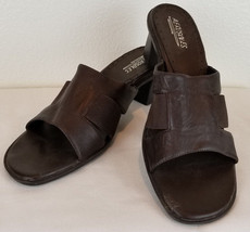 "Aerosoles Womens Size 10 ""Taylor"" Brown Leather Slip On Slide Sandal Hee... - $16.98"