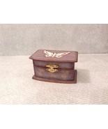 Small Wooden Grey/Blue Trinket Treasure Box w/ White Butterfly's - $34.64