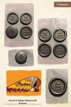 "Indian Motorcycle Buttons 1"" Diameter Black 4-H... - $14.84"