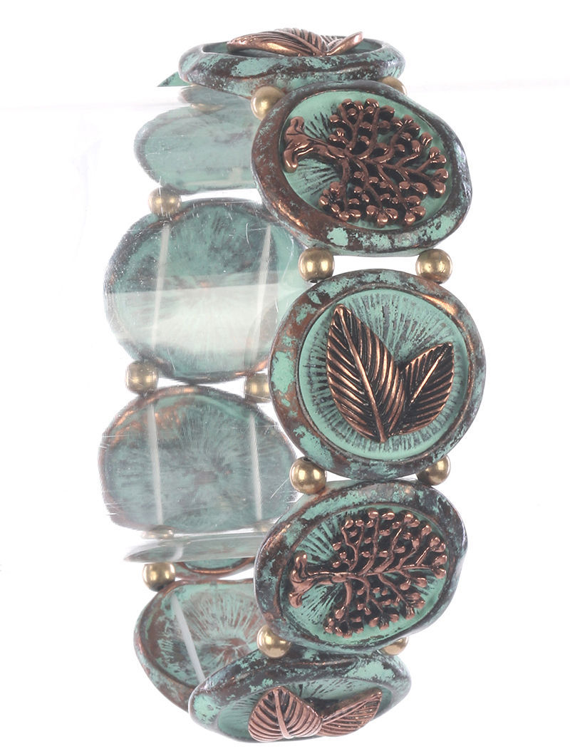 Vintage Style Tree of Life Stretch Bracelet Distressed Two Tone