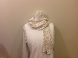 Honey Collection Pure White Lace Floral Scarf with Scalloping