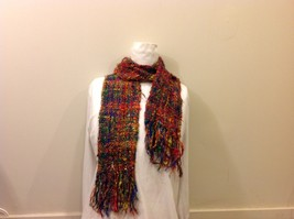 Rainbow Knit Pattern Scarf with Fringe