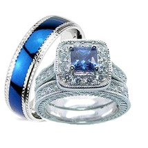 His Hers 3 Piece Wedding Ring Set Sapphire Blue Cz Sterling Silver Wedding Rings - $59.99