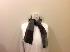 Dark Medium Light Grey Plaid Green Lined Scarf