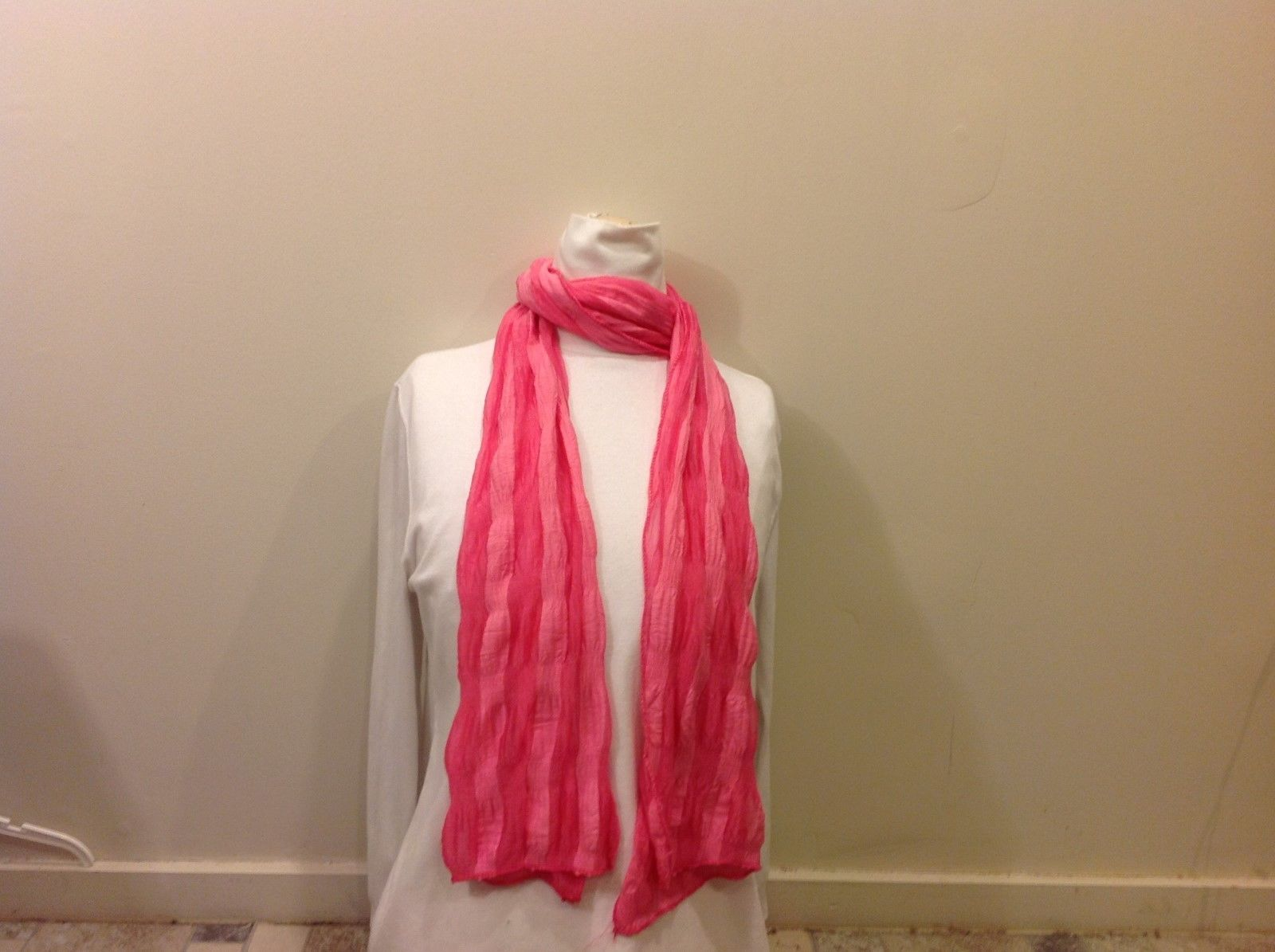Bright Semi-Sheer Pink Striped Scarf w/ Ribbed Flexible Sewed Hem