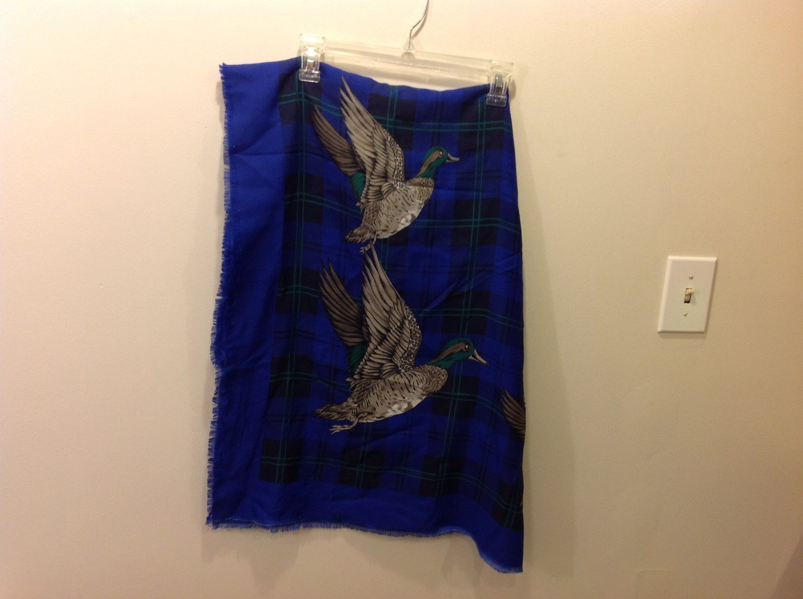 Royal Blue Black/Green Plaid Scarf w/ Repeated Flying Duck Image