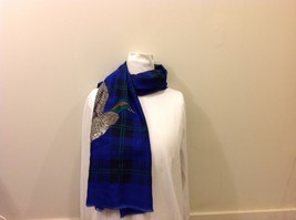 Royal Blue Black/Green Plaid Scarf w/ Repeated Flying Duck Image image 5