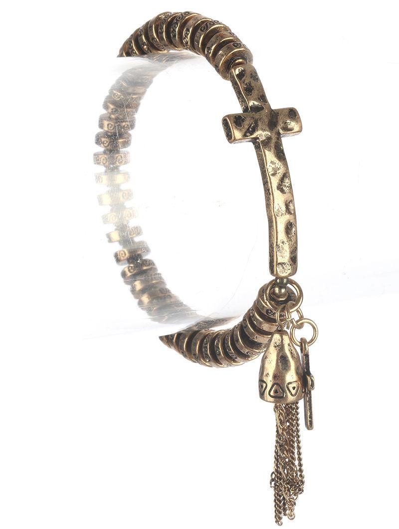 Vintage Style Cross Tassel Stretch Bracelet Distressed Goldtone