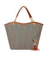 New Fashion Girl Striped Shoulder Beach Bag Women Shopping Canvas Tassel... - £12.34 GBP