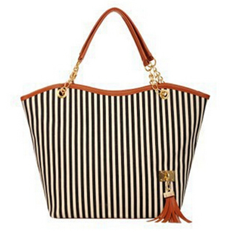 Ew fashion girl striped shoulder beach bag women shopping canvas tassel handbag top quality free