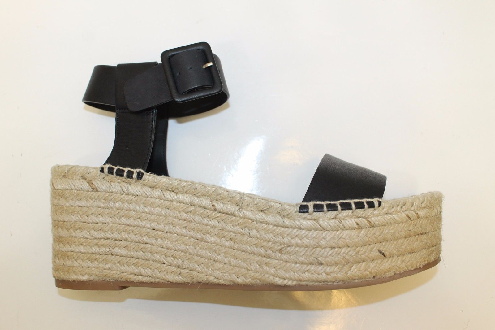 83f2b4e11 New Vince Abby Espadrille Leather Black Sandal Wedge Women Shoes 11 Strap