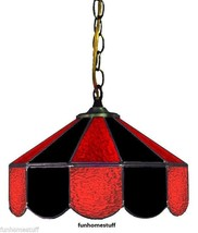 """BLACK & RED 14"""" STAINED GLASS HOME BAR DECOR LAMP HANGING TABLE LIGHT FI... - $209.95"""