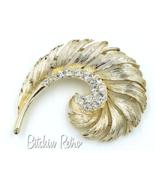 Lisner Vintage Rhinestone Brooch with Retro Swirl or Feather Design  - $22.00