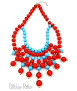 Aqua Blue and Cherry Red Glass Bead Bib Necklace, Statement Piece - $399,88 MXN
